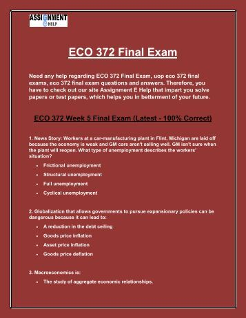 eco 372 final exam 1 Study flashcards on eco 372 final exam 1 at cramcom quickly memorize the terms, phrases and much more cramcom makes it easy to get the grade you want.