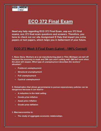 ECO 372 Final Exam | ECO 372 Final Exam Questions and Answers | Assignment E Help