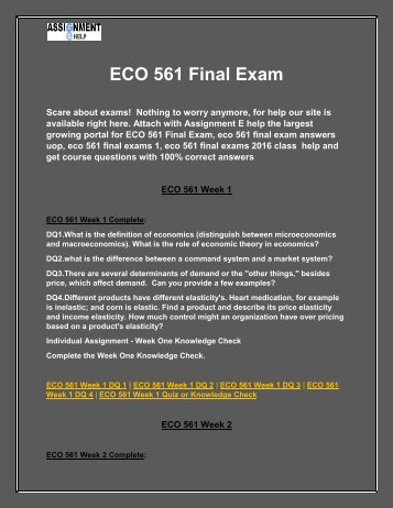 ECO 561 Final Exam - ECO 561 Final Exam Answers @Assignment E Help