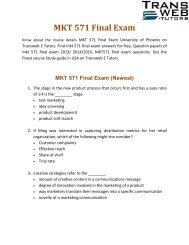 MKT 571 Final Exam | MKT 571 Final Exam Answers - Transweb E Tutors