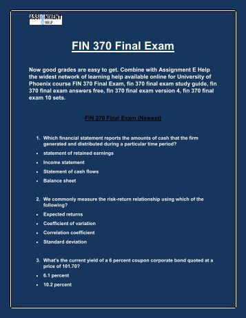 fin 370 problem 1 Fin 370 week 1 calculating ratios review the financial statements for lake of egypt marina, inc complete the following problem sets from chapter 3 in microsoft .