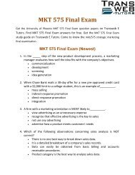 MKT 575 Final Exam  | MKT/575 Strategic marketing final examination | Transweb E Tutors