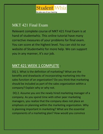 MKT 421 Final Exam  | MKT 421 Final Exam  Answers | ECO 365 Final Exam Analysis - Studentwhiz