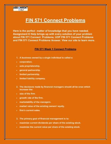 Assignment E Help: FIN 571 Connect Problems | FIN 571 Connect Problems Question and Answers