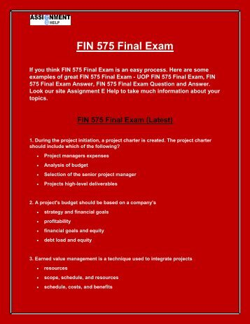FIN 575 Final Exam - FIN 575 Final Exam answers UOP - Assignment E Help