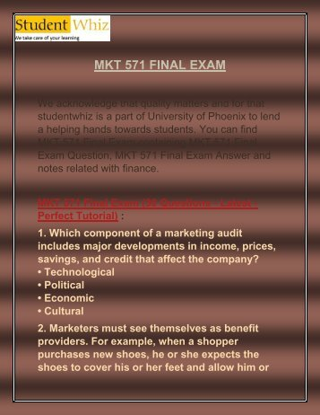 Studentwhiz: MKT 571 Final Exam | MKT 571 Final Exam Question and Answers
