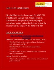 MKT 578 Final Exam -  MKT 578 Final Exam Questions: ECO 561 Final Exam Answers UOP - Studentwhiz