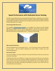 Speed Performance with Dedicated Server Hosting
