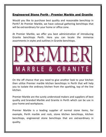 Premier Marble - Supplier of Quality and branded Stone benchtops, marble and granite in Perth