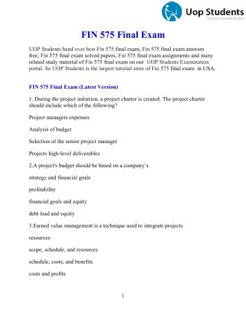 FIN 575 Final Exam Answers - UOP Students