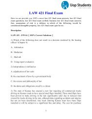LAW 421 Final Exam - UOP Law 421 Final Exam Answers   UOP Students