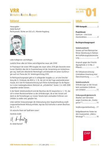 Infobrief VerkehrsRechtReport 01/2016