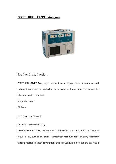 ZCCTP-1000 CTPT Analyzer