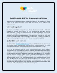 Get Affordable SEO Tips Brisbane with Webbuzz