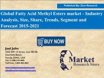 Fatty Acid Methyl Esters market