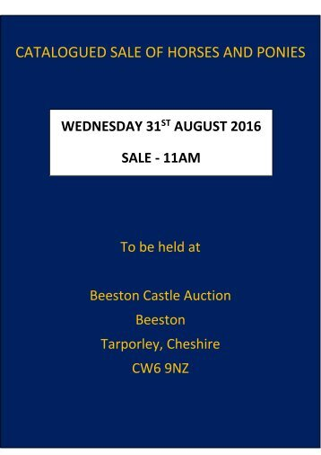 CATALOGUED SALE OF HORSES AND PONIES