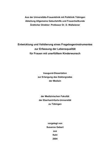 Tübinger Kinderwunschfragebogen - TOBIAS-lib - Universität ...