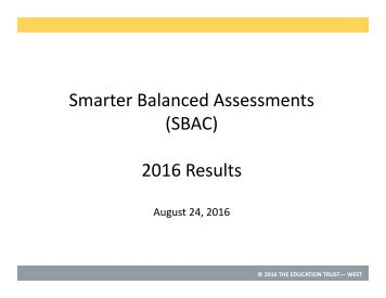Smarter Balanced Assessments (SBAC) 2016 Results