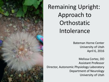 Remaining Upright Approach to Orthostatic Intolerance