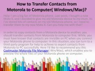 How to Transfer Contacts from Motorola to Computer Windows or Mac