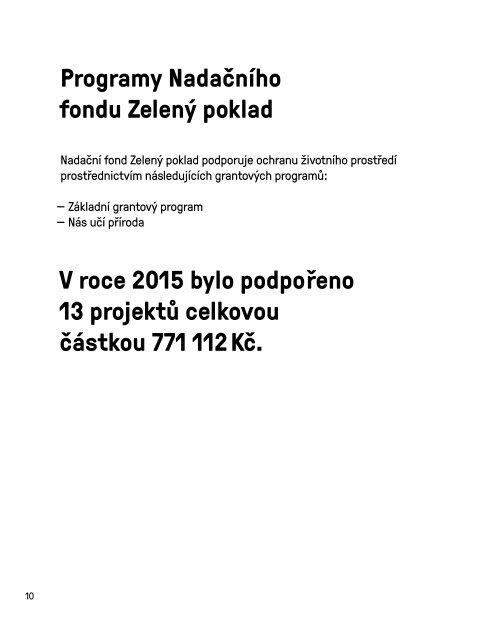 Výroční zpráva Nadačního fondu Zelený poklad za rok 2015