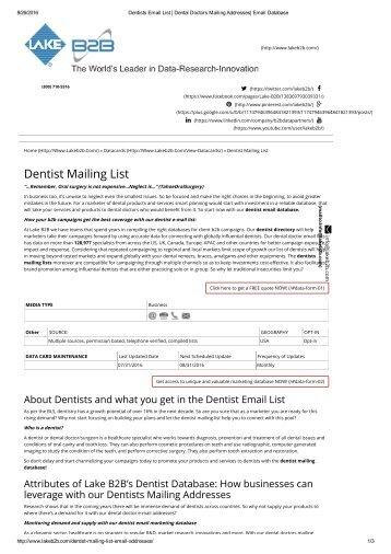 Dentist Email Addresses