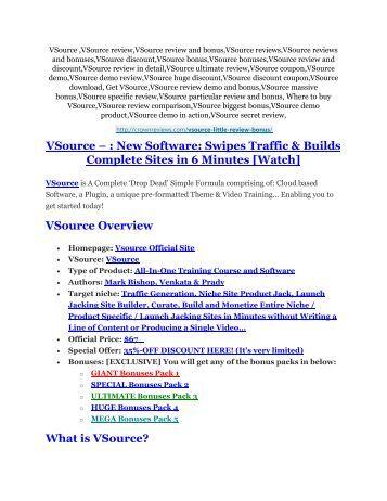 VSource review and (MEGA) bonuses – VSource