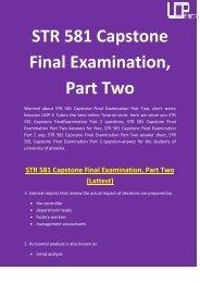 STR 581 Capstone Final Examination, Part Two | STR 581 answers - UOP E Tutors