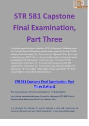 STR 581 Answers - STR 581 Capstone Final Examination, Part Three - UOP E Tutors