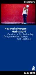 Neuerscheinungen Herbst 2016 im Carl-Auer Verlag