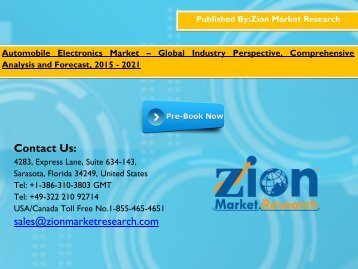 Automobile Electronics Market Size, Share, competitive landscape, current industry trends by 2015 - 2021