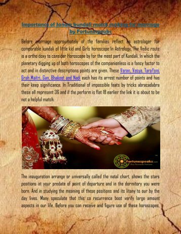 Importance of Janam kundali match making for marriage | Fortunespeaks