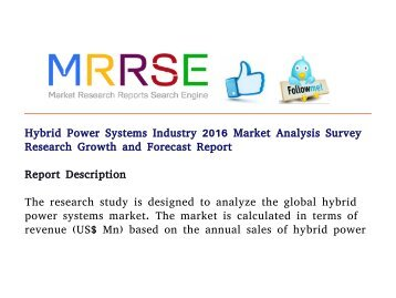 Hybrid Power Systems Industry 2016 Market Analysis Survey Research Growth and Forecast Report