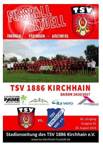28.8.2016 Stadionzeitung TSV 1886 Kirchhain vs. TSV Erksdort