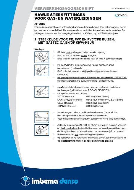 Verwerkingsvoorschrift Hawle Steekfittingen Voor Gas