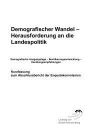 Demografischer Wandel – Herausforderung an die Landespolitik