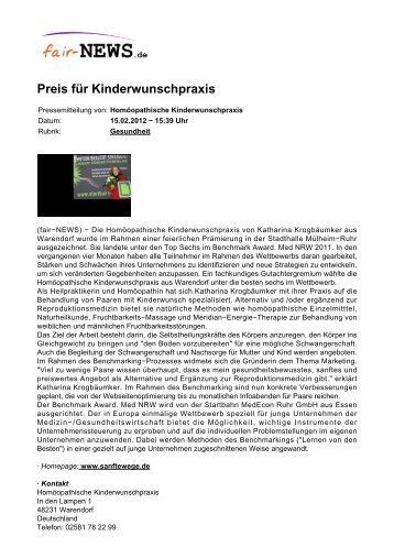 PDF :: fair-NEWS.de :: Preis für Kinderwunschpraxis