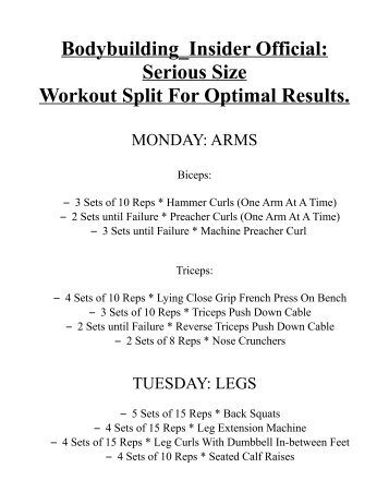 Bodybuilding Insider Official Serious Size Workout Split For Optimal Results