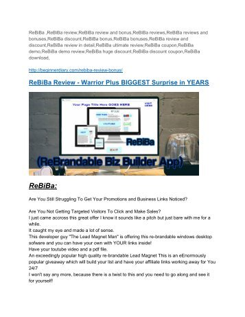 ReBiBa review & ReBiBa (Free) $26,700 bonuses