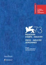 PROIEZIONI STAMPA · INDUSTRY PRESS · INDUSTRY SCREENINGS