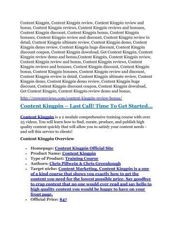 Content Kingpin reviews and bonuses Content Kingpin