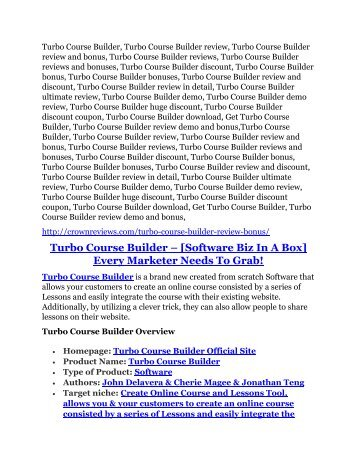 Turbo Course Builder review and (GET) +100 items bonus pack