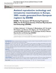 results generated from European registers by ESHRE ESHRE. The ...