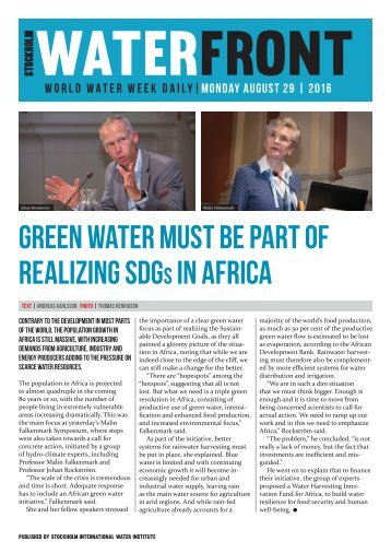 World Water Week Daily Monday 29 August, 2016