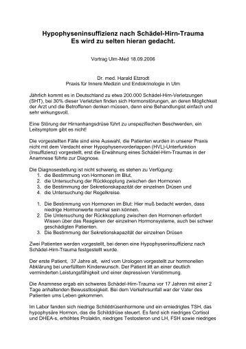 Hypophyseninsuffizienz nach Schädel-Hirn-Trauma Es ... - Ulmmed