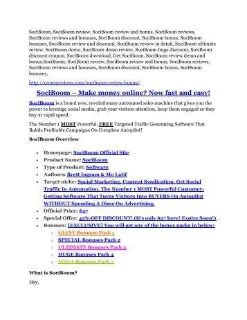 SociBoom review-- SociBoom (SECRET) bonuses