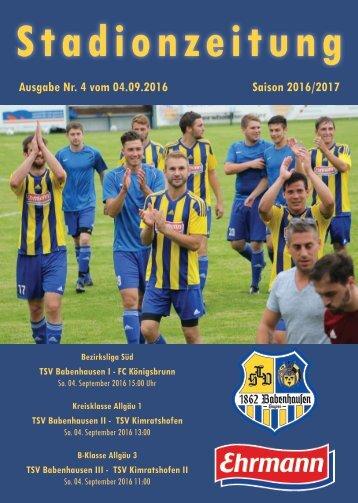 20160904 Stadionzeitung TSV Babenhausen - FC Königsbrunn