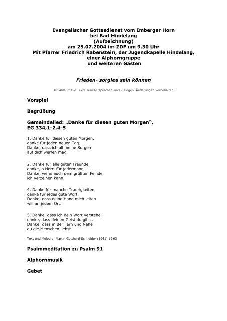Evangelischer Gottesdienst Vom Imberger Horn Bei Bad