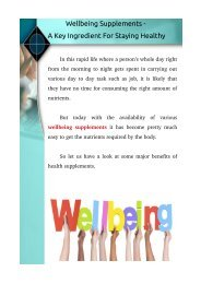 Wellbeing Supplements - A Key Ingredient For Staying Healthy