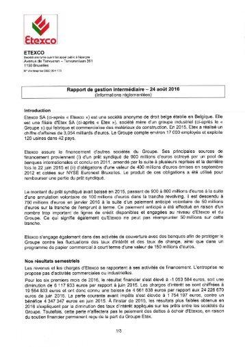 Etexco Rapport de gestion intermédiaire 2016